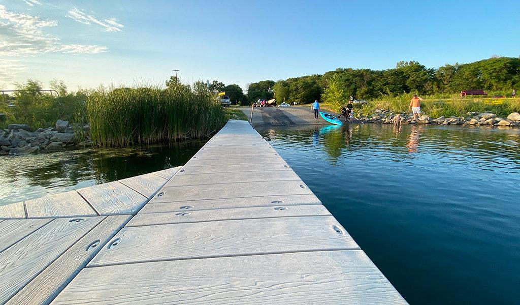 park patrons using boat ramp at ayd hayden park