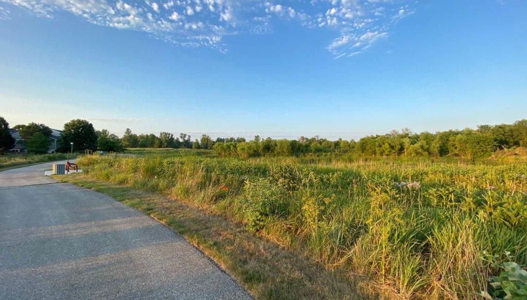 winding ada hayden trail alongside an established prairie area