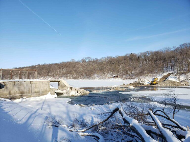 The Hydroelectric Dam in the midst of demolition, re-opening the Des Moines River.
