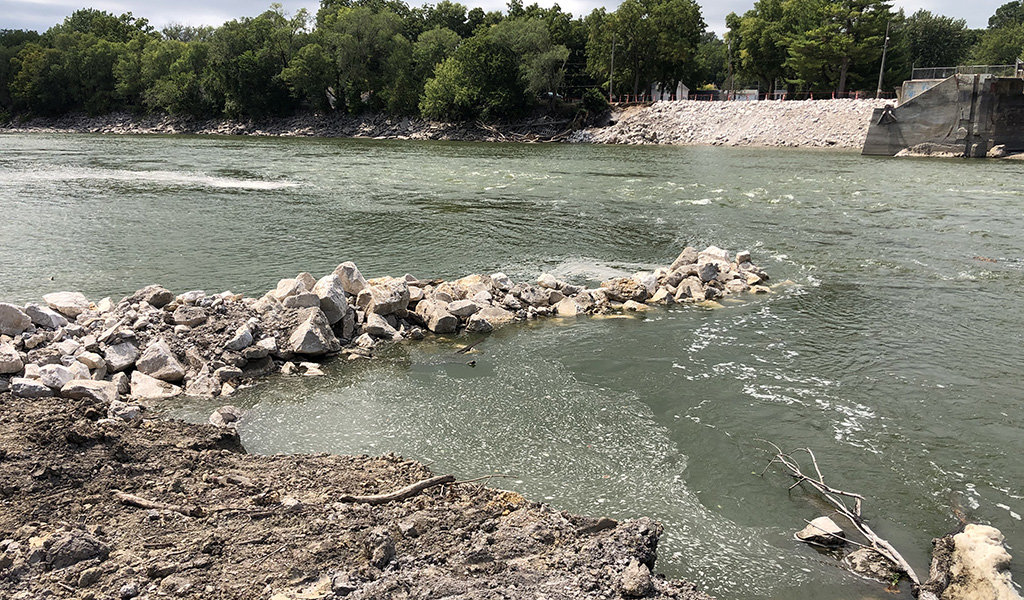In-river environmental recreation j hook structure