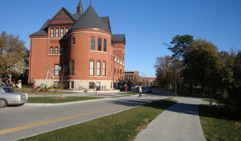 Morrill Road with Morrill Hall in the background on the Iowa State University Campus.