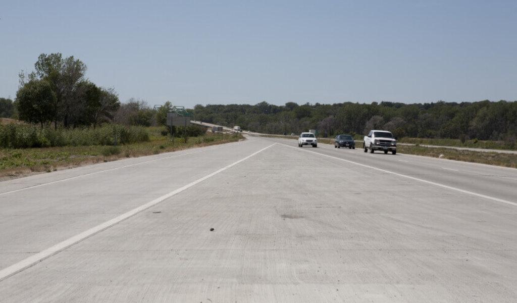 Interstate I-680 following emergency roadway repair to fix severely damaged pavement following a flood in spring 2011.