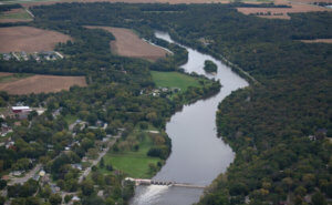 An aerial image of the Des Moines River, where dam removal will occur to restore the beauty and function of the river.