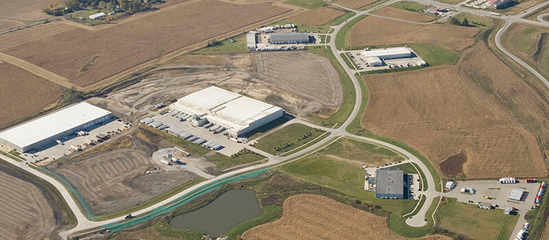 Aerial view of an industrial park in Altoona, IA.
