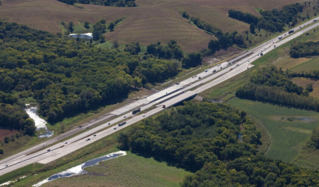 Overhead view of Interstate 35 bridges being constructed near Warren/Polk County line.