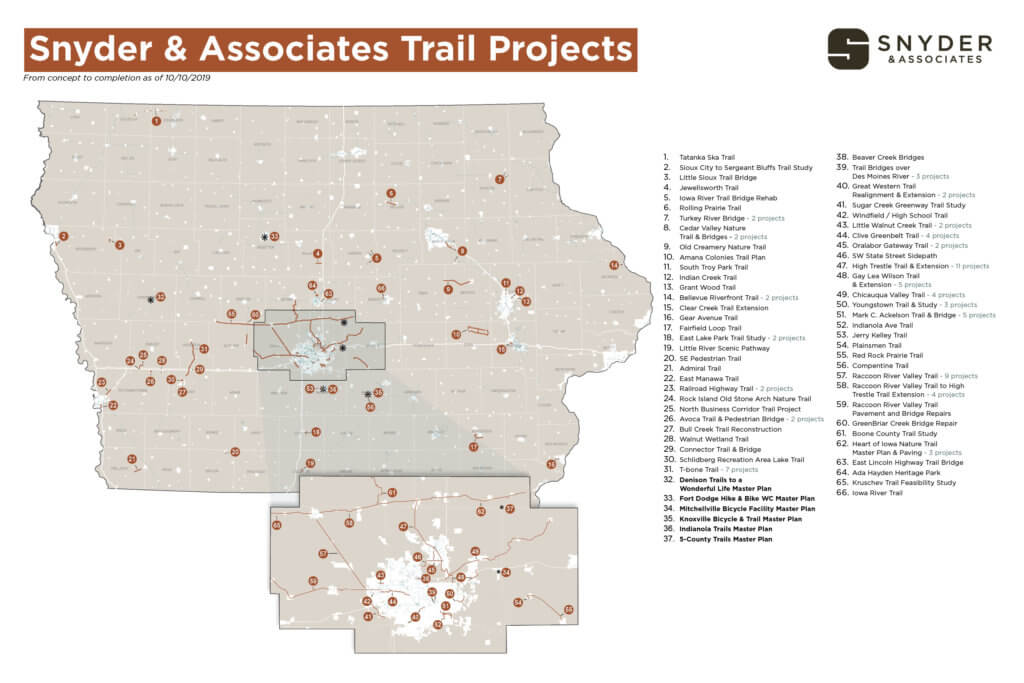 State map of Snyder & Associates trail projects.