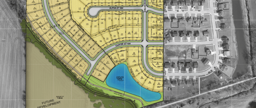 Aerial master plan rendering a future development.