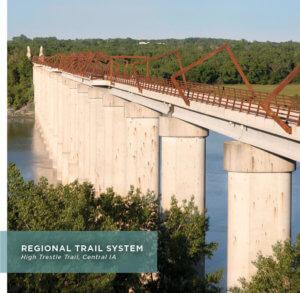High pedestrian bridge with architectural art elements