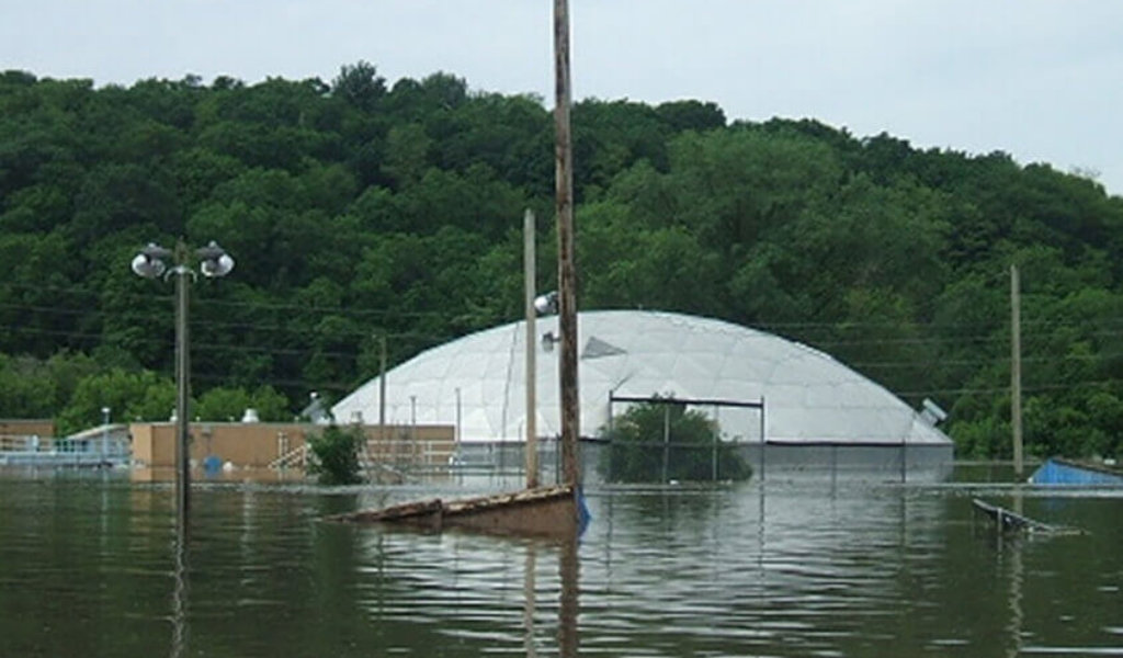 flooded wastewater treatment facility
