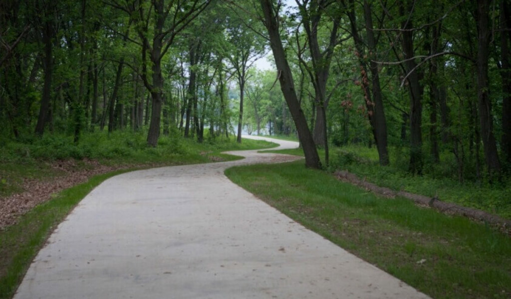 A winding portion of the Easter Lake trail in Polk County.