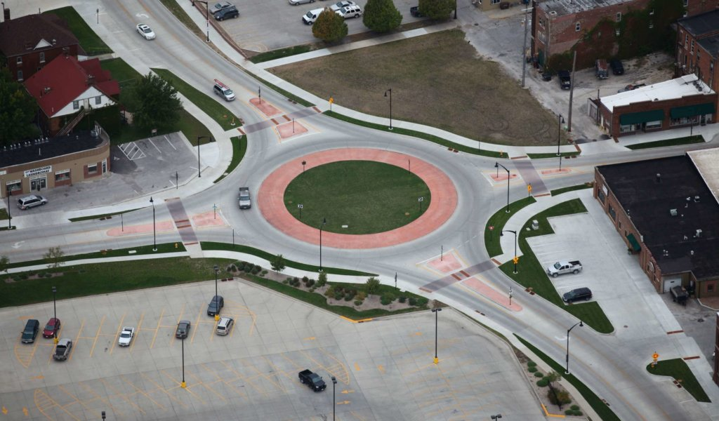 Aerial view looking northwest in Fort Dodge shows traffic moving smoothly through the 1st Avenue South and South 12th Street roundabout