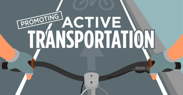 First person view of cyclist in bike lane rendering promoting active transportation