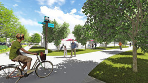 rendering of man riding a bike on pedestrian pathway for community placemaking