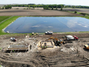 Construction taking place for wastewater treatment plant improvements in the City of Norway.