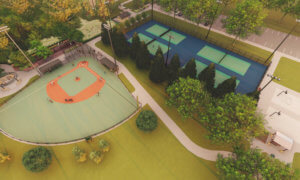 Aerial rendering of a baseball field and tennis court