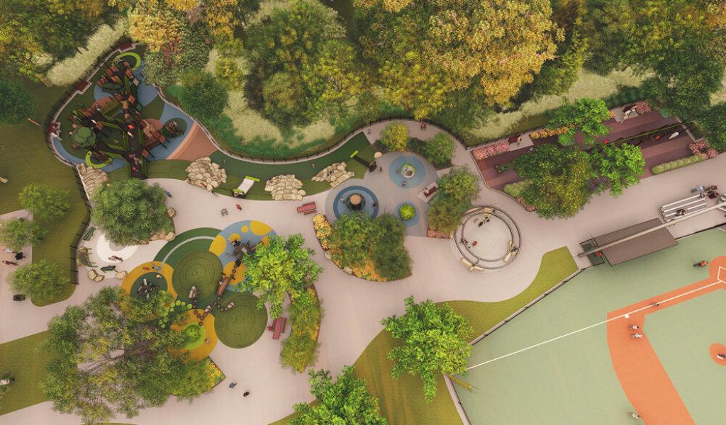 Aerial rendering of playground