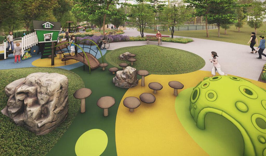 Rendering of children running around a playground.