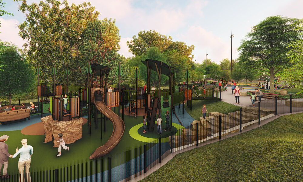 Rendering of a jungle gym playground with children playing.