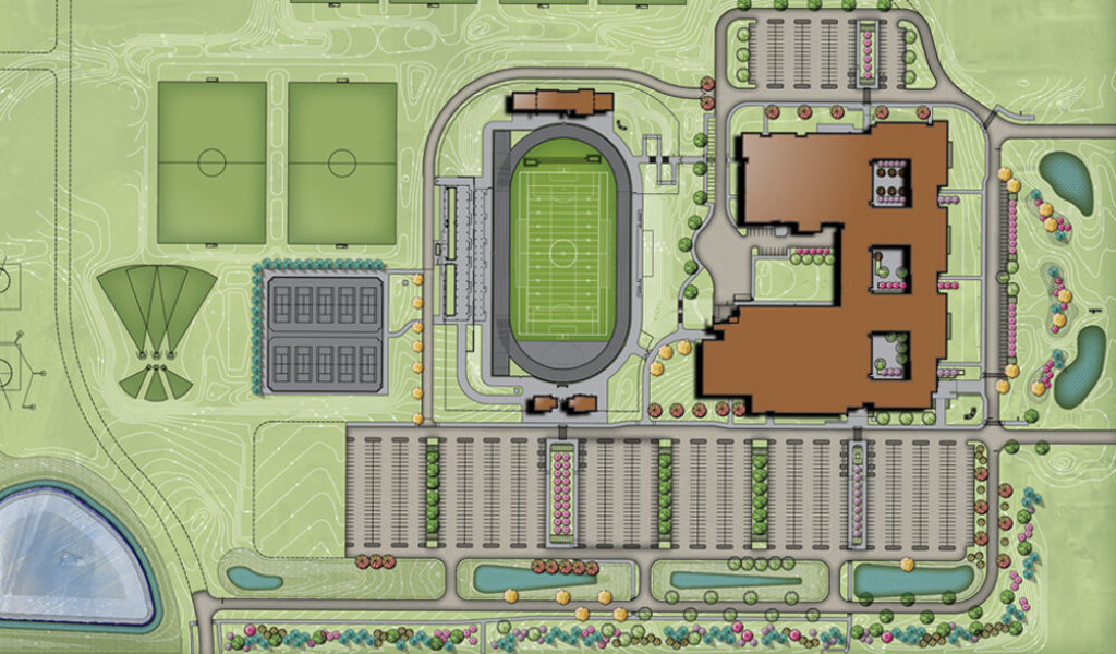Aerial rendering of Johnston High School