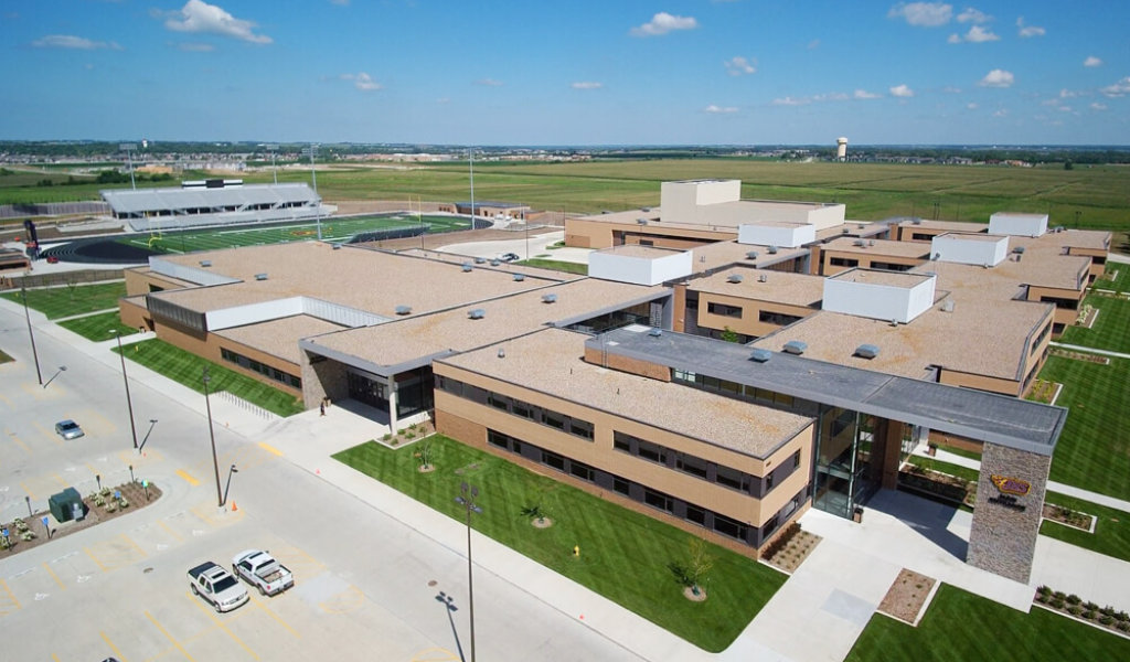 Drone image of Johnston High School in Johnston, Iowa