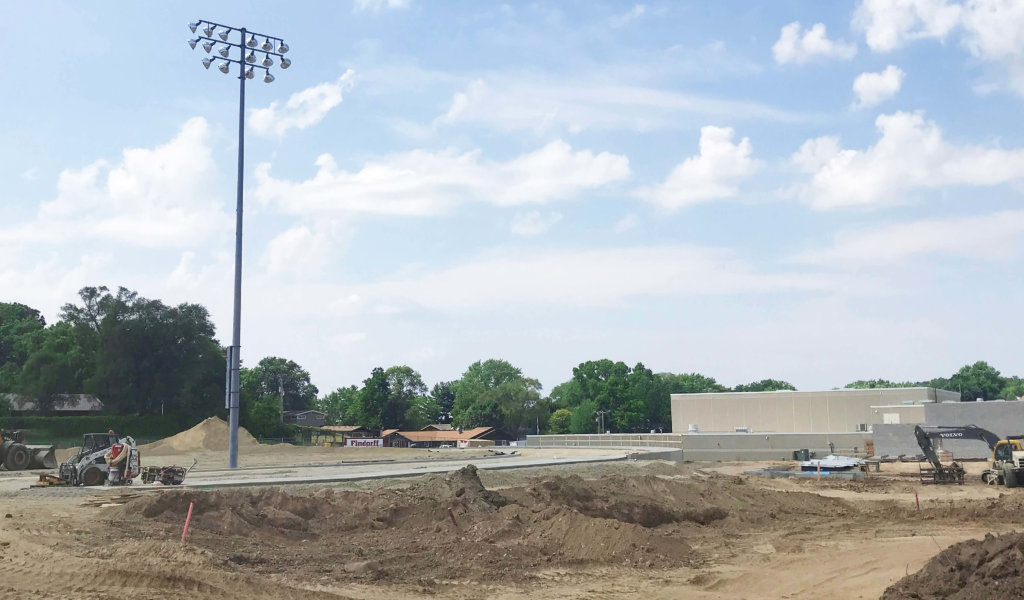 Construction of a track and field retaining wall at McFarland High School.