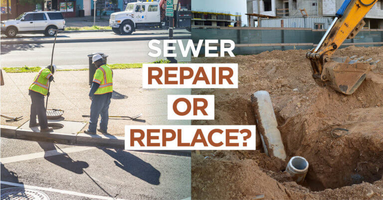 city workers depicted repair and replacing sanitary sewer pipes