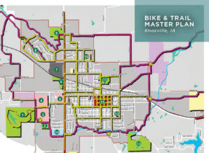 Map rendering of a cities bike and pedestrian trails.