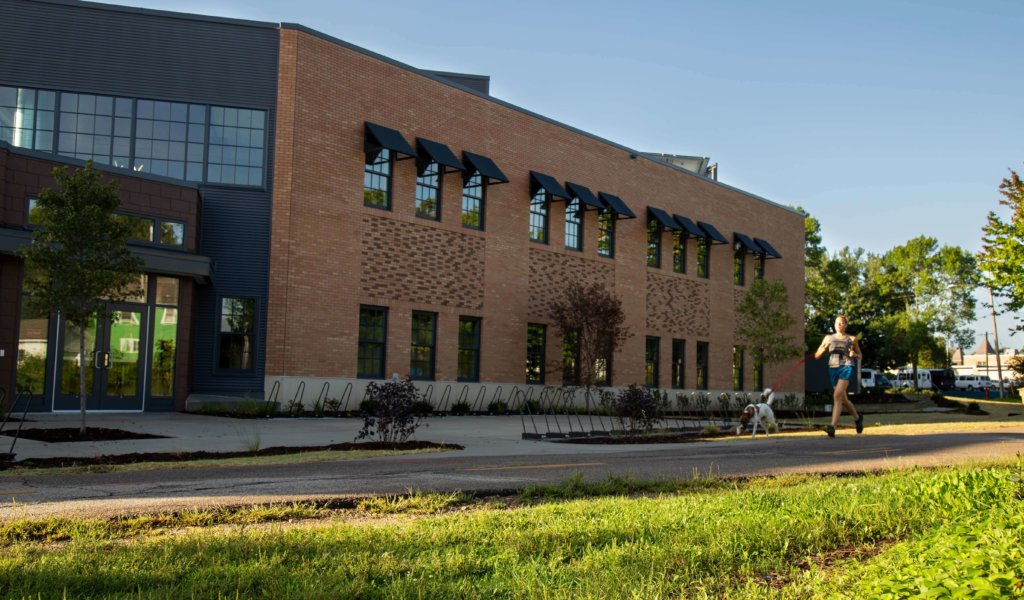 The new Goodman Community Center as viewed from the Capital City State Trail.