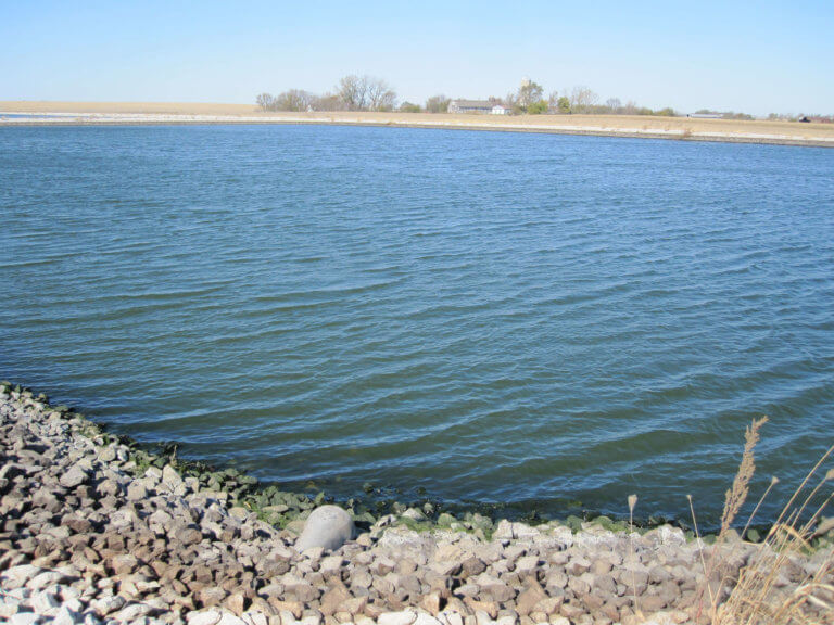 A new controlled discharge lagoon in operation at the Woodward Resource Center in Iowa.