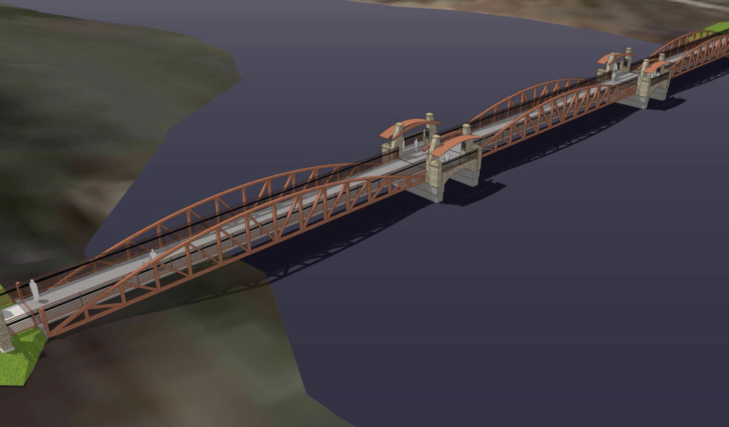 A rendering of a new pedestrian bridge that will be part of the Easter Lake Trail.