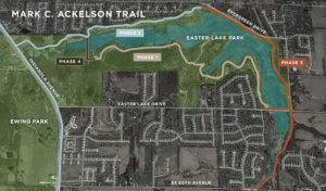 An aerial image highlighting phased construction of the Mark C. Ackelson Trail at Easter Lake Park.