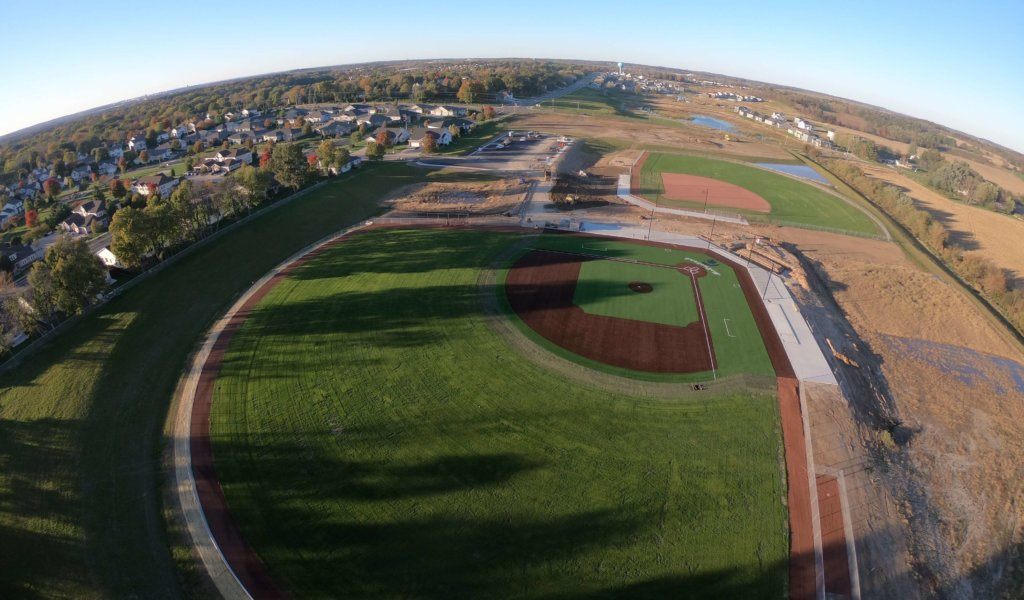 An aerial view of the McFarland Baseball Field