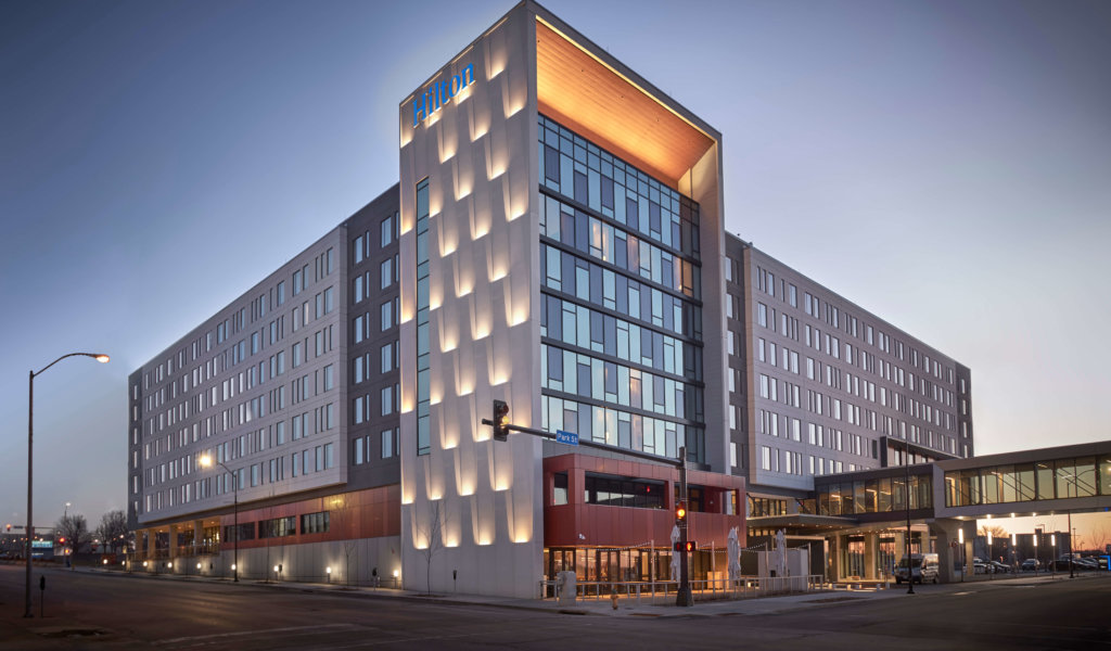 The exterior of the award-winning Hilton Des Moines Downtown hotel, which Snyder & Associates provided civil engineering services for.