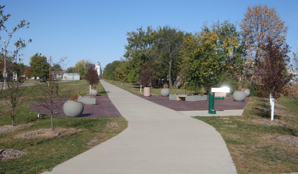 An image of a trail oasis located along the Raccoon River Valley Trail in Waukee, Iowa.