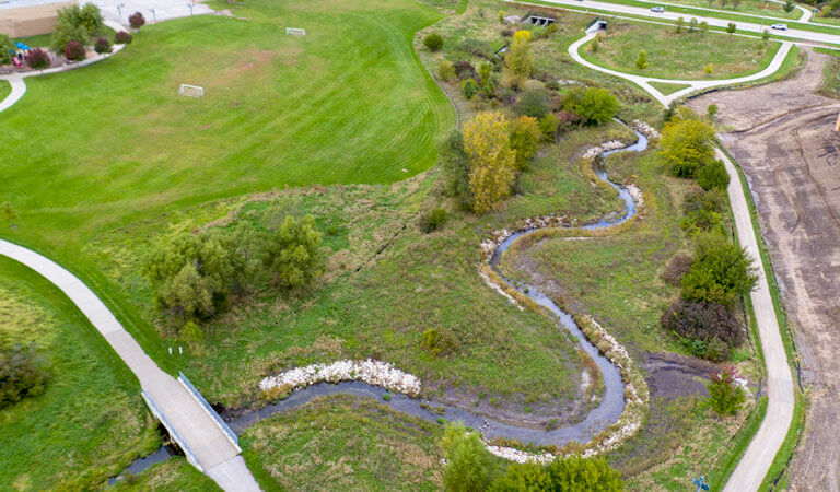 Stream mitigation of Jordan Creek accounts for unavoidable impacts to Sugar Creek while enhancing the natural beauty of Brookview Park.