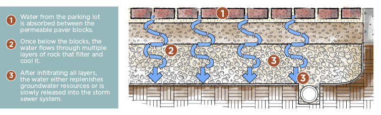 Graphic explaining permeable pavers with step by step process