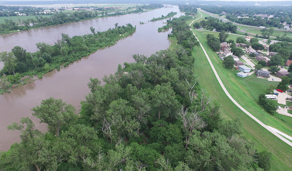 Aerial view of flooded river