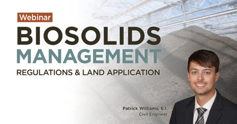 Webinar thumbnail about Biosolids management. Hosted by Civil Engineer, Patrick Williams.