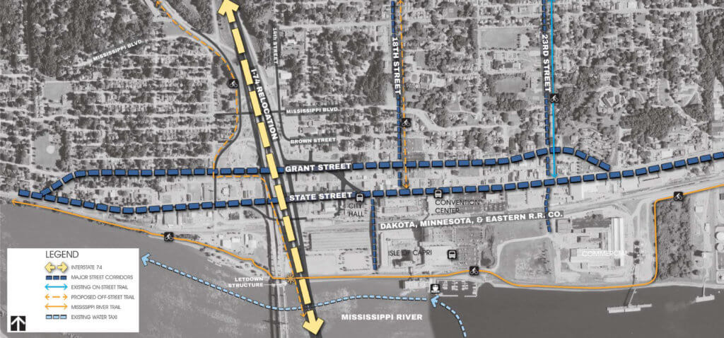 Map and legend describing future improvement plans