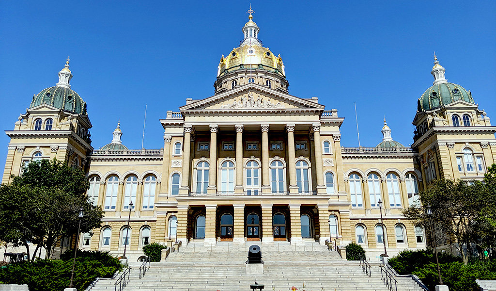 Iowa state capitol from the front steps