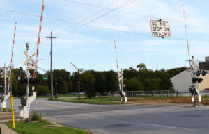 railroad crossing arms at a railroad quiet zone
