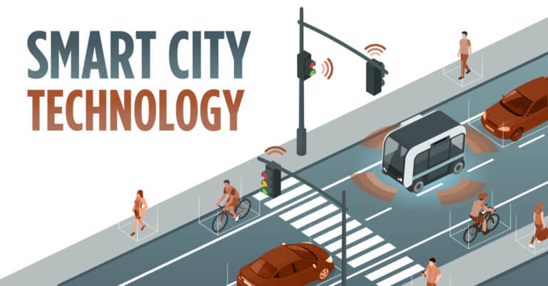 smart city street identifies pedestrians, cars and bicyclist graphic