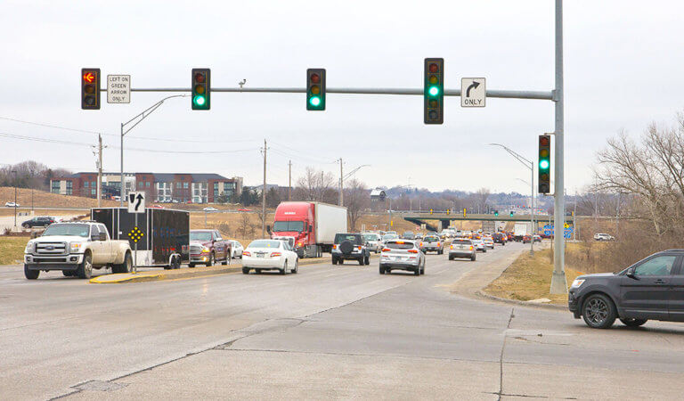 busy intersection with green light
