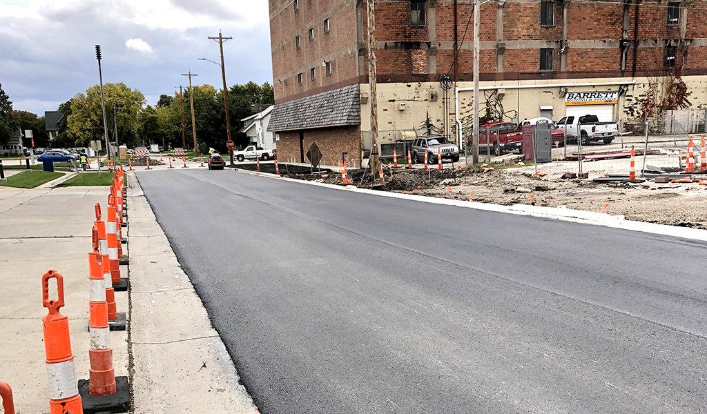 new asphalt laid on a street