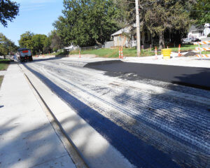 rough concrete before asphalt is placed