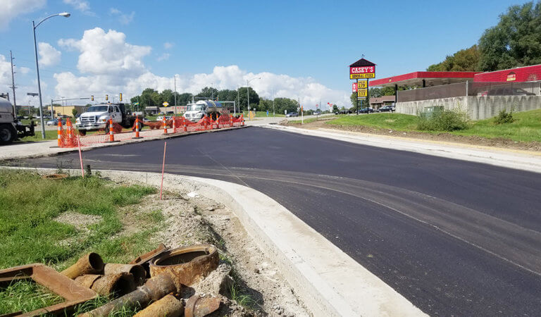 newly paved frontage road