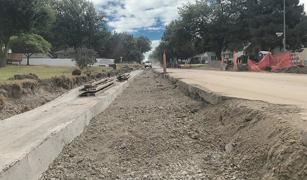stormwater drainage ditched during construction