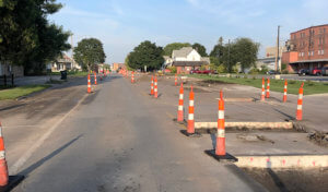 traffic cones block off road areas missing concrete