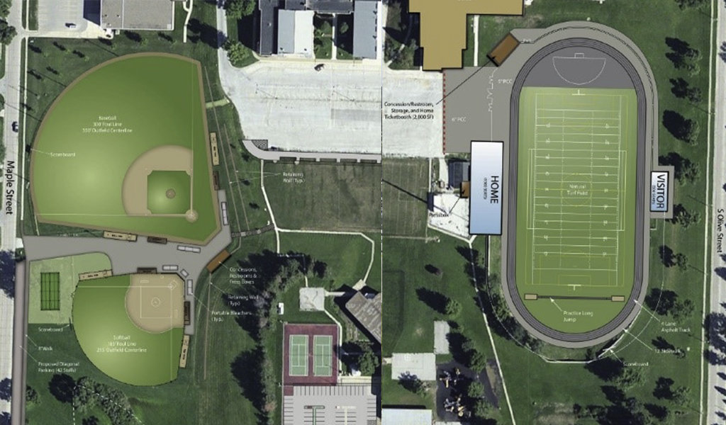 aerial rendering of football field/track next to baseball and softball fields.