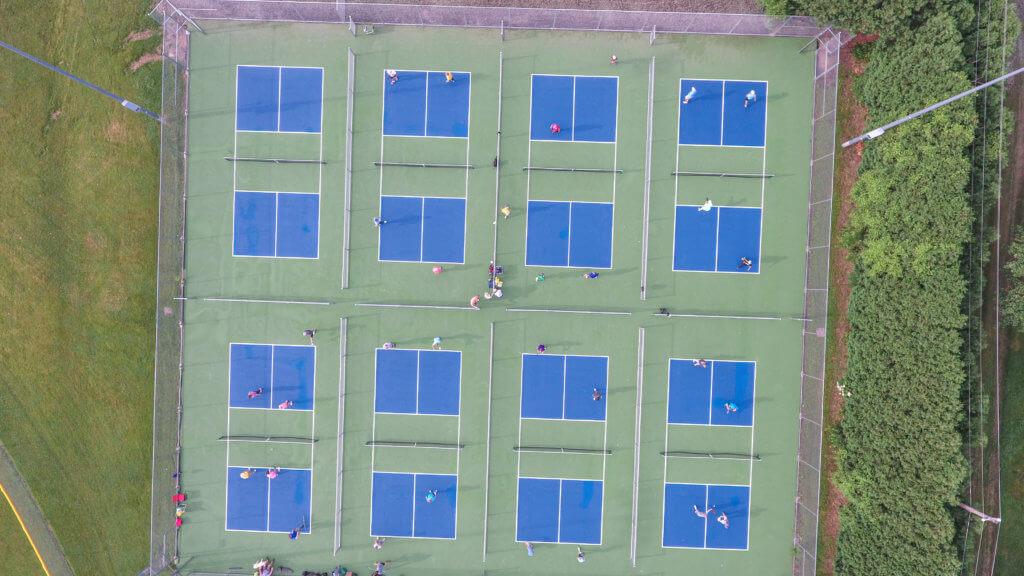 aerial view of pickleball courts